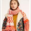 Free People Accessories | Mile High Fringe Scarfsold Out | Color: Orange/White | Size: Os