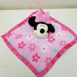 Disney Bedding | Minnie Mouse Lovey Security Blanket Pink Plush Toy | Color: Black/Pink | Size: Os