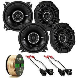 "Car Speaker Set Combo of 4X Kicker 4"" 120 Watts 2-Way Black Car Audio Coaxial Speakers, 4 x Metra Speaker Wire Harness Compatible with Select GM Cars, Enrock Audio 14 AWG Gauge 50 Feet Speaker Wire"