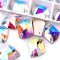 BLINGINBOX AAAAA Quality 24pcs Irregular Clear Glass Sew On Rhinestones Flatback Crystal AB Cosmic Sew-on Rhinestone (Crystal AB, 13x17mm)