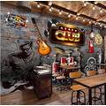 Custom Mural Wallpaper 3D Vintage Brick Wall Music Theme Ktv Bar Background Wall Cloth Photo Wall Papers For Walls 3 D-430Cmx300Cm