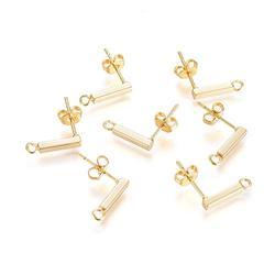 Fashewelry 10 Pairs 18K Gold Post Stud Earrings Rectangle Strip Earring Findings Ear Piercing Plugs with Loop Safety Earring Backs for Women Girls Dangle Earring Jewelry Making