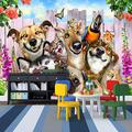 Peel and Stick Wall Mural Animal Dog 150X100Cm Wallpaper Mural Non-Woven Photo Wall Art Mural Living Room Bedroom Tv Office Restaurant Murals Home Decoration
