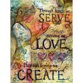 Iyyuor Serve Love Create 5D DIY Diamond Painting Kits for Adults Full Drill Embroidery Cross Stitch Crystal Rhinestone Paintings Pictures Arts Wall Decor Painting Kits(Square 40x50cm)