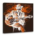 Emvency Canvas Wall Art Print Black Music Guitarist Guitar Player Blues Man Expression Electric Artwork for Home Decor 16 x 16 Inches