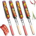 Kebab Grilling Basket & Grilling Skewers Set of 4, Kabob Grilling Baskets Non Stick Stainless Steel BBQ Barbecue Grilling Basket, Wooden Handle Barbecue Sausage Cage