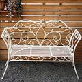 Garden Bench Outdoor Bench, 124cm Metal Balcony Park Bench, Weatherproof Cast Iron Porch Seats, Park Bench with Backrest and Armrests