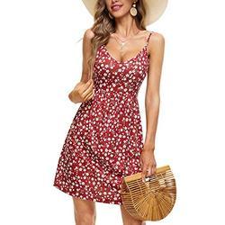 HUHOT Beach Dresses Women Summer Empire Waist Dress for Women Summer Dress for Women Beach V Neck Backless Adjustable Spaghetti Strap Empire Waist Dress