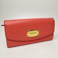 Michael Kors Bags | Michael Kors Slim Flap Pebbled Leather Snap Wallet | Color: Gold/Red | Size: Os