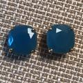 Kate Spade Jewelry | Kate Spade Square Stud Earrings | Color: Blue/Gold | Size: Os