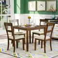 """August Grove® Mestas 35"""" Iron Dining Table Color: Brown, Base Color: Brown/Beige, Wood/Iron/Metal in Brown/Brown/Beige, Size Small (Seats up to 4)"""