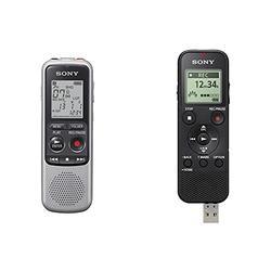Sony ICD-BX140 4GB Digital Voice Recorder, Black, ICDBX140 & Sony ICD-PX370 Mono Digital Voice Recorder with Built-in USB Voice Recorder,Black