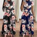 Femmes printemps Robe 2021 Décontracté À Manches Longues Robe Longue Boho Imprimé Floral Maxi Robe
