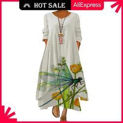 MOVOKAKA printemps été Robe longue Robe Robe à manches longues robes de soirée femmes décontracté