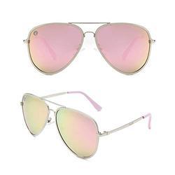 Woosh Classic Polarized Premium Aviator Sunglasses for Men & Women UV Mirrored Lens Metal Retro Vintage Shades (Pink Hype Lens)