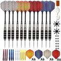Steel Tip Darts Set - Professional 12PC 22G Darts Steel Tip for Dartboard - Includes Stainless Steel Barrels + Plastic & Aluminum Shafts + O'Rings + Flights & Protectors + Sharpener + Wrench 10432