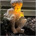 YONGMEI Solar Statue Garden Ornaments Solar Garden Ornament, A Kid with Solar Fireflies Garden Statue Resin Jar, Boy Girl Statue Yard Outdoor Sculpture Decor for Garden, Yard (Color : Boy)