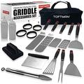 TOFTMAN Griddle Accessories Kit for Blackstone and Camp Chef - Flat Top Grilling Spatula and Stovetop Utensils Tool Set with Grill Tongs, Cleaning Kit, Egg Rings for Outdoor Hibachi Grill (17 Piece)