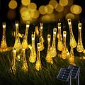 JMEXSUSS Solar Water Drop String Lights, 2 Pack 20.8FT 30 LED Solar Fairy String Lights Outdoor Waterproof, 8 Modes Warm White Solar Teardrop Lights for Tree Gardens Patio Yard Parties Holiday Spring