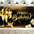 Senksll Happy Birthday Backdrop Banner Extra Large Black and Gold Sign Poster for Men Women Birthday Anniversary Party Photo Booth Backdrop Background Banner Decoration Supplies (A)