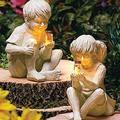 YONGMEI Solar Statue Garden Ornaments Solar Garden Ornament, A Kid with Solar Fireflies Garden Statue Resin Jar, Boy Girl Statue Yard Outdoor Sculpture Decor for Garden, Yard (Color : Boy+Girl)