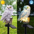 BHSHUXI 2PCS Garden Solar Lights Outdoor,Solar Fake Owl Garden Lights LED Owl Lamp,Decorative Waterproof Garden Stake Lights for Walkway Yard Lawn Landscape Lighting