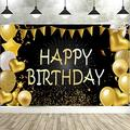 Senksll Happy Birthday Backdrop Banner Extra Large Black and Gold Sign Poster for Men Women Birthday Anniversary Party Photo Booth Backdrop Background Banner Decoration Supplies (D)