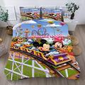 Mickey Mouse Minnie Mouse Riding a Roller Coaster Bedding Set King Bed Sets Bedding Qulit Cover Set for Teens Tollders Girls