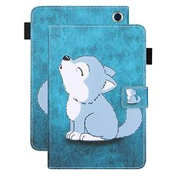 Kindle Fire HD 8 Case 10th Generation, Kindle Fire HD 8 Plus 10th Generation Case, APOLL Auto Wake Sleep Pen Holder Shock Absorption Soft TPU Back Case for All-New Fire HD 8/HD 8 Plus, Cute Baby Wolf