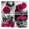 4 Sets 5D Diamond Painting Kits for Adults Kids, DIY Roses Flower Diamond Art Paint with Round Diamonds by Number Kits, Flower Diamond Art Kits Perfect for Home Wall Decor, Gifts (11.8 x 11.8inch)
