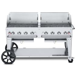 """Crown Verity CV-MCB-60-SI50/100-WGP 58"""" Mobile Gas Commercial Outdoor Charbroiler w/ Wind Guards, Liquid Propane"""