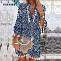 Nouvel Été Femmes Vintage Gland Mini Robes Dames Col en V 3/4 Manches Daisy Imprimé Floral Robe De