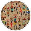 Woman Silhouettes Office Swivel Chair Mat Round Floor Mats for Computer Desk Gaming Chair Diameter 2 ft