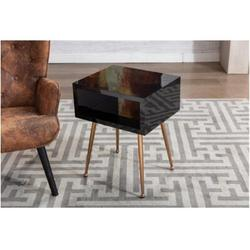 Everly Quinn Mirror End Table Mirror Nightstand End,Side Table (Light Blue)Wood/Mirrored/Stainless Steel in Black/Yellow   Wayfair