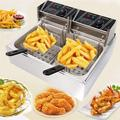 TFCFL 5000W Electric Deep Fryer 12L Single Tank Stainless Steel Commercial Restaurant Frying Basket w/ Temperature Regulator For French Fries Onion Rings