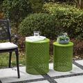 Dakota Fields Deasia Iron Garden Stool in Green, Size 19.25 H x 14.5 W x 14.5 D in   Wayfair 53E506D1565A47E196B6C22689F33027