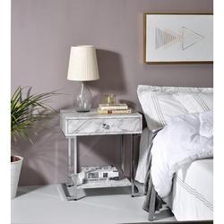 Brayden Studio® Nissa 1 - Drawer Nightstand in White/Gray Wood in Brown/Gray/White, Size 24.0 H x 22.0 W x 15.0 D in | Wayfair