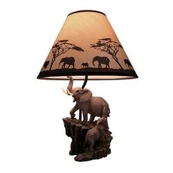 Dakota Fields Elephants On Expedition Table Lamp W/Decorative Shade Resin/Fabric in Black/Gray, Size 18.5 H x 7.5 W x 6.0 D in   Wayfair