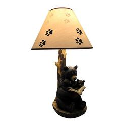 Trinx Black Bear Reading To Curious Cubs Table Lamp W/Paw Print Shade Resin/Fabric in Black/Brown, Size 20.0 H x 8.0 W x 6.0 D in | Wayfair