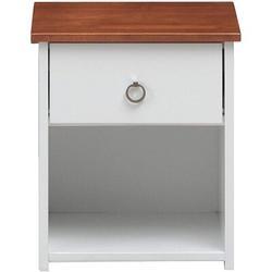 Latitude Run® Farah Nightstand, White & Oak 30833 (Only Nightstand) Wood in Brown/White, Size 20.8661 H x 18.1102 W x 18.1102 D in | Wayfair