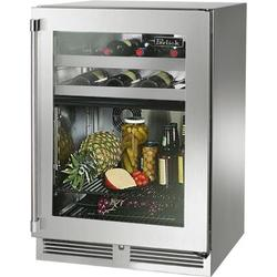 """Perlick HP24CO-4-3RL 24"""" Signature Series Outdoor Dual Zone Refrigerator/Wine Reserve with 5.0 cu. ft. Capacity RAPIDcool Forced-air System Stainless Steel Construction Door Lock and Right Hinge Glass Door in Stainless Steel"""
