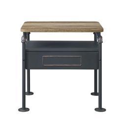 17 Stories Nicipolis Nightstand In Antique Oak & Sandy30737 (Only Nightstand) in Gray, Size 27.9528 W x 18.8976 D in   Wayfair