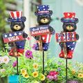"Trinx Patriotic Bears w/ Inspirational Signs Pot 3 Piece Garden Stake Set, Resin/Plastic, Size Small (6""-1') | Wayfair"