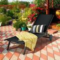 Latitude Run® Aluminum Fabric Outdoor Patio Lounge Chair w/ Adjustable Reclining -Black Metal in Black/Green, Size 13.0 H x 76.0 W x 23.0 D in