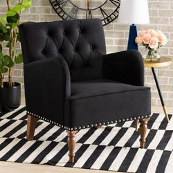 Baxton Studio Eri Contemporary Glam & Luxe Black Velvet Upholstered & Walnut Brown Finished Wood Armchair - Wholesale Interiors RAC516-AC-Black Velvet/Walnut-CC