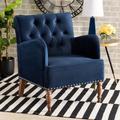 Baxton Studio Eri Contemporary Glam & Luxe Navy Blue Velvet Upholstered & Walnut Brown Finished Wood Armchair - Wholesale Interiors RAC516-AC-Navy Blue Velvet/Walnut-CC