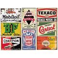 8 Pieces Motor Oil Gasoline Tin Signs, Retro Vintage Metal Sign for Home Man Cave Garage, 8x12 Inch/20x30cm Courtyard decoration