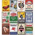 12 Pieces Gas and Oil Tin Signs, Retro Vintage Metal Sign for Home Man Cave Garage,8x12 Inch/20x30cm Courtyard decoration