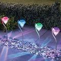 4Pcs Outdoor LED Solar Light, Garden Decoration Lamps, LED Diamonds Lawn Light, Solar Powered Path Stake Lanterns Lamp Home Decor 4pcs Colorful