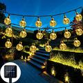 Nasharia Solar String Lights Outdoor, 21ft 30 LED Solar String Lights Globe Outdoor 8 Modes LED Crystal Balls Waterproof Globe String Lights Solar Powered Fairy Lighting for Garden Yard Porch Party